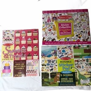NWT Melissa and Doug set of 3 Sticker Pads.